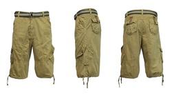 Harvic Men's 100% Cotton Distressed Cargo Shorts - Khaki - Size: 38