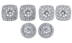 Kiran Jewels 1 CTTW Diamond Round Cluster Earrings
