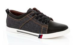 Franco Vanucci Men's Michael Lace-Up Sneakers - Black - Size: 9.5