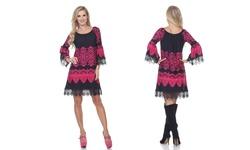 White Mark Women's Alta Shift Dress - Black/Fuchsia - Size: XLarge