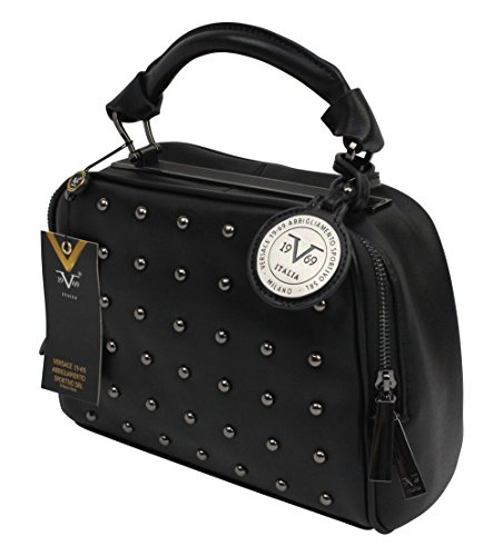 Versace V1969 Italia Women s Gwen Satchel Handbag - Black - Check ... 99653a903a34e