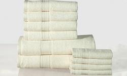 Casa Platino 10-Piece Heavyweight Cotton Bath Towel Set - Ivory