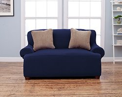 Home Fashion Designs Form Fit Stretch Slip Cover - Blue - Size: Love Seat