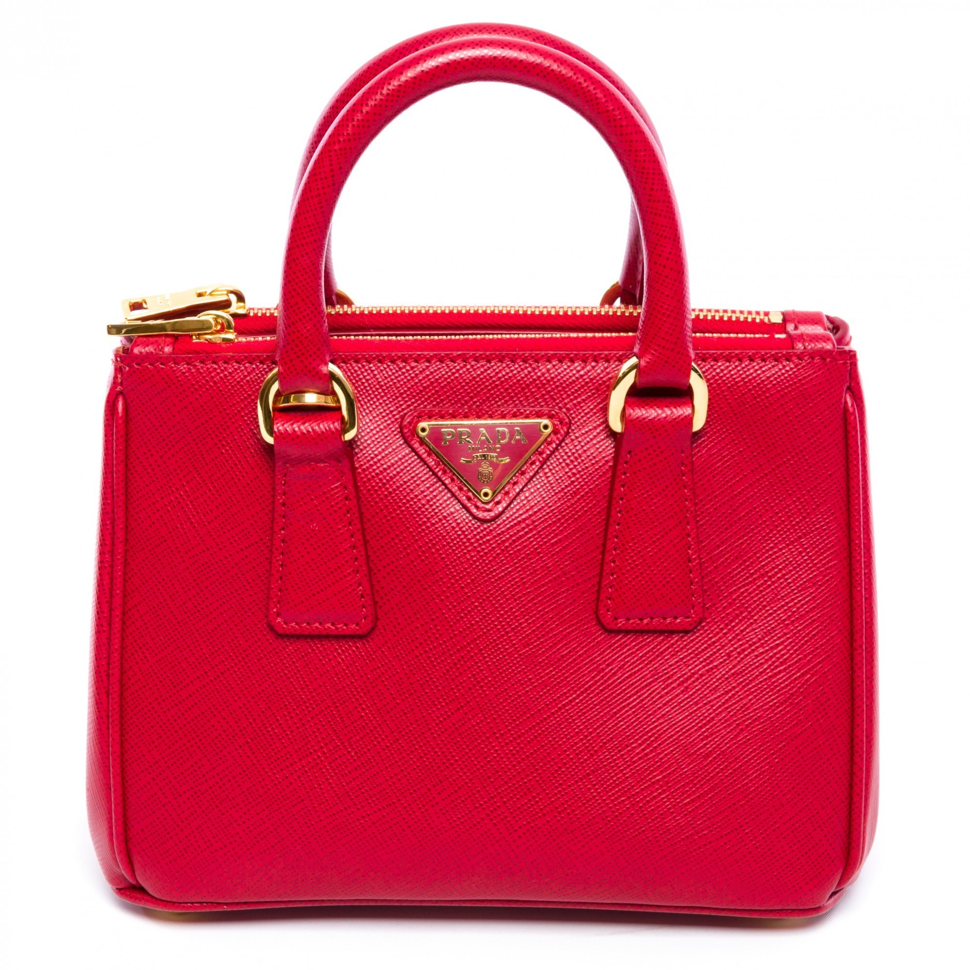 0f72d87cc32c Prada Mini Saffiano Leather Galleria Crossbody Handbag - Red - Check ...