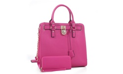 MKII Women's Nikki Satchel and Wallet Set - Fuchsia