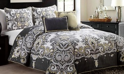 Victoria Classics 5Piece Istanbul Comforter Set - Grey/Yellow - Size: King