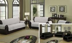 Reversible Water-Resistant Microfiber Cover: Sofa-Silver/Black