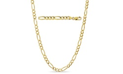 "Sterling Silver Unisex 24"" Solid 14K Gold Figaro Chain - Yellow"