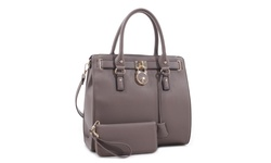 MKII Nikki Satchel Handbag and Matching Wallet Set - Gray
