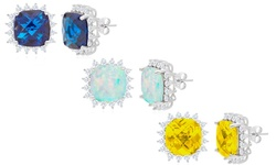 4.00 CTW Opal Princess Cut Halo Stud Earrings