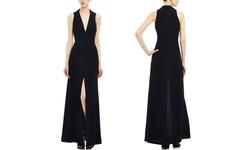Jill Jill Stuart Tuxedo Neckline Gown with Slit - Black - Size: 2