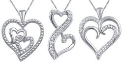 Kiran Jewels Diamond Accent Heart Pendant - KP17812CWSC/Heart Within Heart