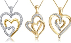 Diamond Accent Heart Pendant in 14K Gold Plated Brass