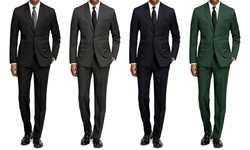 Braveman Slim Fit 2-piece Suit: Black/46lx40w