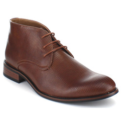 UV Signature Men's Chic Textured Lace Up Ankle Booties - Brown - Size: 12