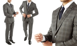 Alberto Cardinali Men's 3-Piece Plaid Slim-Fit Suit - Grey - Size: 40Rx34W