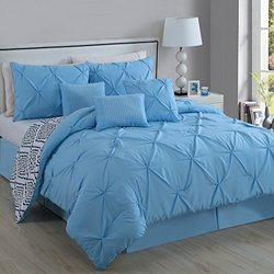 Avondale Manor Essex 7 Piece Pinch Pleat Comforter Set - Lt Blue - Size: K