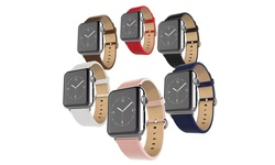 Waloo Leather Grain Apple Watch Replacement Band - Pink - Size: 38mm