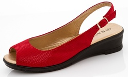 Rasolli Women's Low Wedge Lizy Slingback Sandals - Red - Size: 8.5
