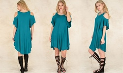 Lyss Loo Sun Kissed Shoulder Tunic Dress - Teal - Size: Large/X-Large