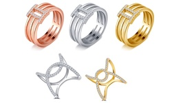 Cubic Zirconia Ring 0.23 Cttw Cz X Cross Ring - Silver -Size: 7