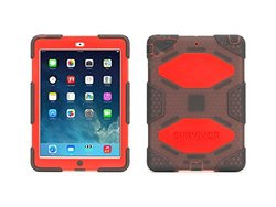 Survivor All-terrain Rugged Case: Stand For Ipad Air/smoke-red