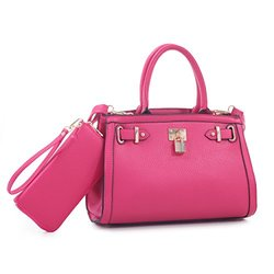 MKII Women's Kate Satchel Handbag and Wallet Set - Fuchsia