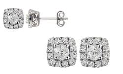 1/2 Cttw Diamond Stud In 10k White Gold: Square Frame