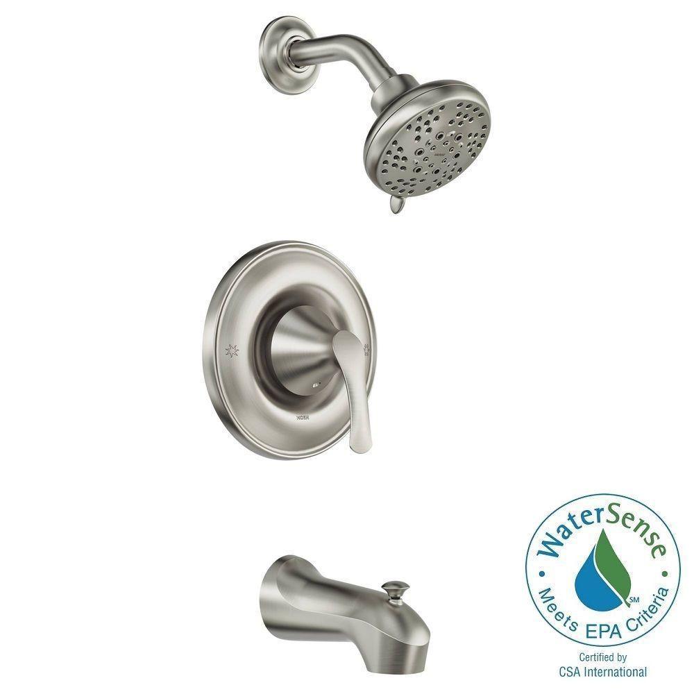 Moen Darcy 1 Handle 5 Spray Tub Shower Faucet Spot Resist Brushed
