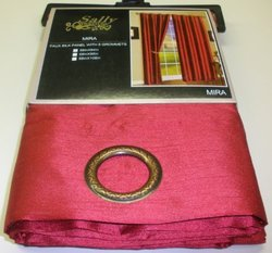 Two 58_x001A_x84_x001A_ Faux Silk Mira Curtain Panels with Set of Eight Grommets, Burgandy