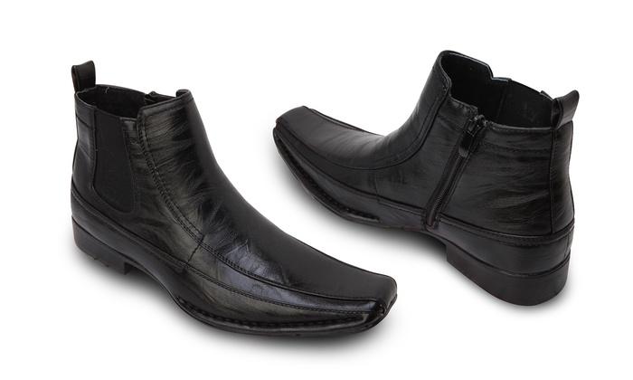 5529dc3d84a9b Bonafini Men's Dress Boots With Side Zipper - Black - Size: 8.5 ...