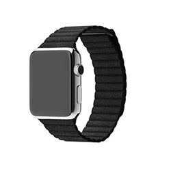 Waloo Leather Loop Band for Apple Watch - Black - Size: 38mm