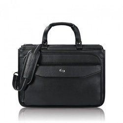 "Solo Classic 15.6"" Laptop Triple Compartment Briefcase, Black"