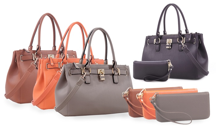 bdb6235c8fa2 Deluxity Portia Satchel Handbag and Wallet Set - Tan - Check Back ...