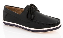 Franco Vanucci Men's Comfort Boat Shoes - Black/Black - Size: 13