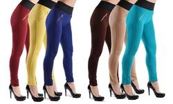Slimming High Waist Pants (3-pack): Black/jade/brown-small