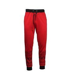 Galaxy By Harvic Men's Joggers - Red/Black - Size: XL