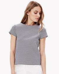 Theory Women's Laveneg Stripe Tee - Navy/Ivory - Size: Large