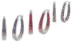 Sterling Silver 18kt Swarovski Elements Hoop Earrings WG Pltd - Pink