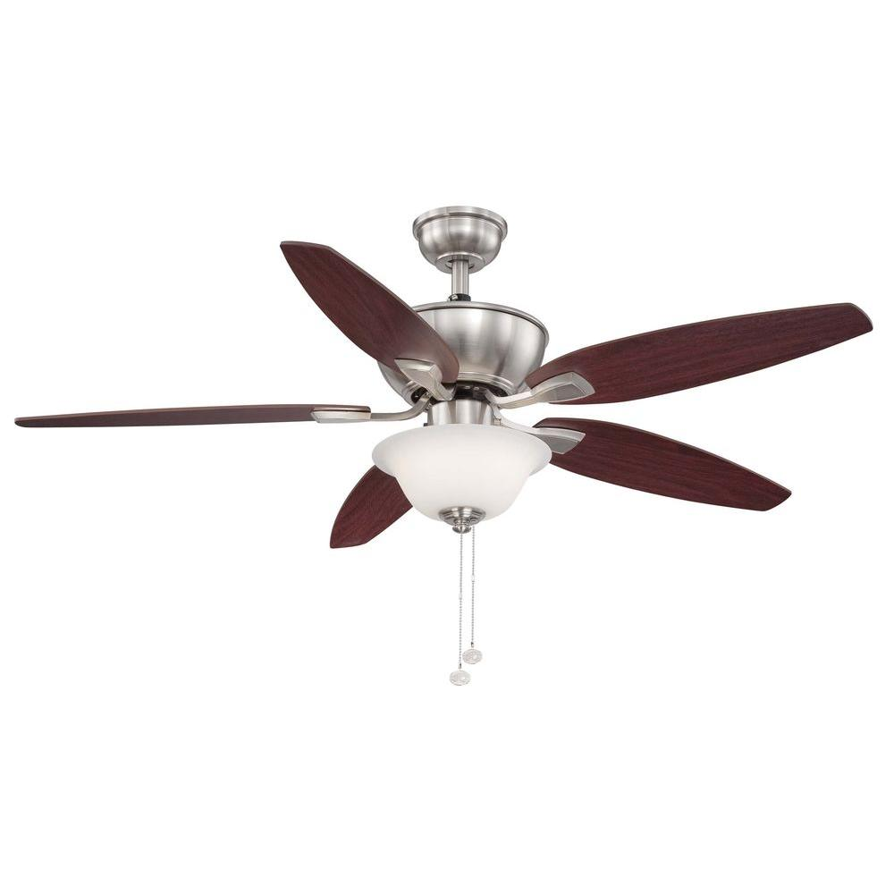Hampton Bay Carrolton Ii Led 52 In Brushed Nickel Ceiling Fan Am215 Bn