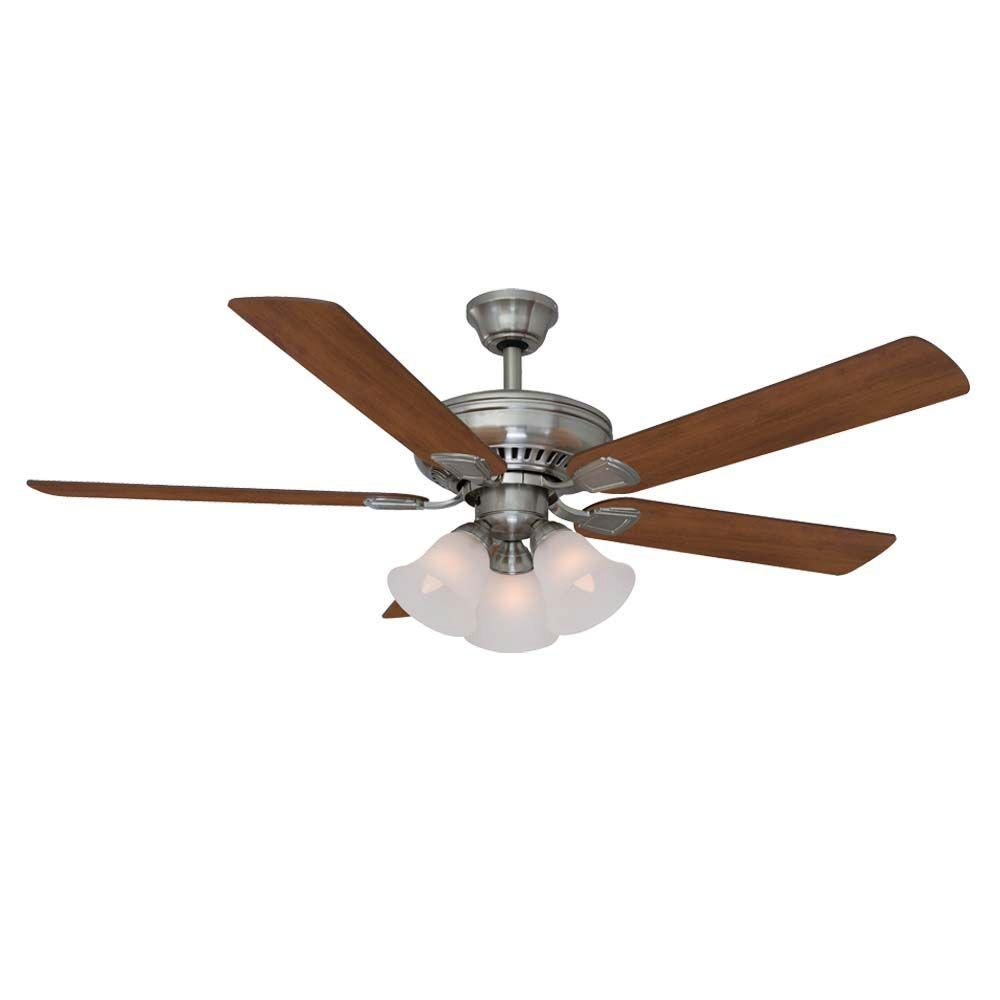 Brushed Nickel Ceiling Fan Hampton Bay 41359 Campbell 52 In