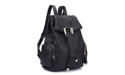 Jansen Drawstring Accent Backpack with Side Pockets - Black