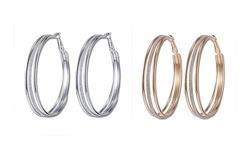 Triple Tier Pave Hoop Earrings with Swarovski Crystals - Gold