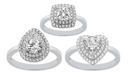 """Golden Moon 2 CTW Luxurious """"Cushion"""" Rings in Swarovski Elements - Size:7"""