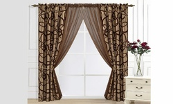 Beatrice Home Fashions Metro Flocked Window Set - Chocolate/Taupe