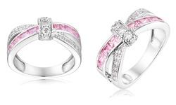 Sevil 18K White Gold 3CTTW Plated Pink & White CZ Crisscross Ring: Size: 6
