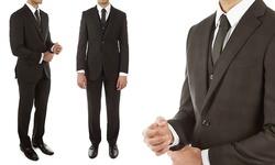 Alberto Cardinali Men's 3-pc Slim Fit Plaid Suit - Black - Size: 38R/32W
