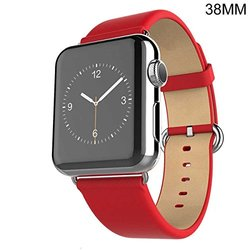 Waloo 38mm Leather Grain Apple Watch Replacement Band - Red
