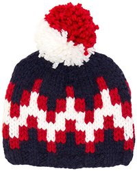 Jonathan Adler Stepped Chevron Intarsia Ski Hat - Navy/Red