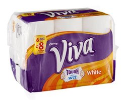 Viva Tough When Wet White Paper Towels 6 ROL - Packof 4